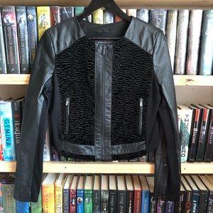BCBGMAXAZRIA Black Leather Zip Bernice Jacket M